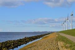 Moinhos de vento holandeses do eco, Noordoostpolder, Países Baixos Fotografia de Stock