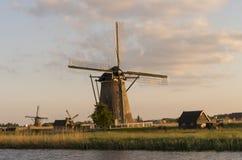 Moinhos de vento holandeses (Kinderdijk) no por do sol Imagem de Stock Royalty Free