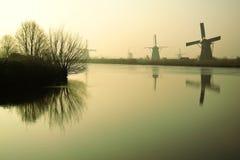 Moinhos de vento holandeses tradicionais no alvorecer Foto de Stock Royalty Free