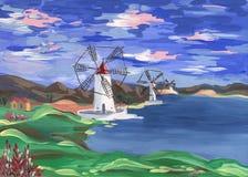 Moinhos de vento na costa Fotos de Stock Royalty Free