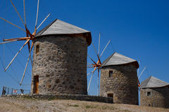Moinhos de vento na ilha de Patmos, Grécia Foto de Stock Royalty Free