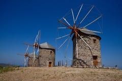 Moinhos de vento na ilha de Patmos, Grécia Imagens de Stock Royalty Free