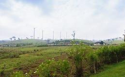 Moinhos de vento no monte Imagens de Stock