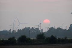 Moinhos de vento no por do sol Fotos de Stock Royalty Free