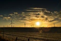 Moinhos de vento no por do sol Foto de Stock