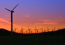 Moinhos de vento no por do sol Imagem de Stock