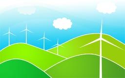Moinhos de vento nos montes Fotos de Stock