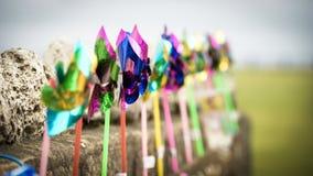 Moinhos de vento plásticos Fotos de Stock Royalty Free