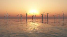 Moinhos de vento a pouca distância do mar Fotografia de Stock Royalty Free