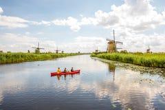 Moinhos de vento velhos em Países Baixos Imagens de Stock