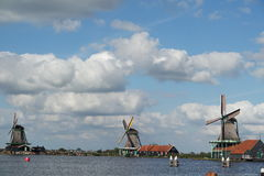3 moinhos em Zaanse Schans Foto de Stock Royalty Free