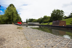 Moira Furnace Canal. On a beautiful sunny day with two boats resting Royalty Free Stock Images
