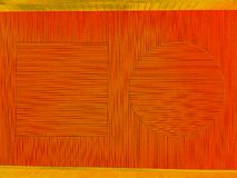 Moiremodell av den fyrkantiga fyrkanten, cirkeln och linjer i orange och guld- arkivfoto