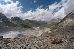 Moiry Glacier. This glacier is a 5 km long glacier situated in the Alps between 2400m and 3800m in the canton of Wallis in Switzerland. In this picture we see Royalty Free Stock Photography