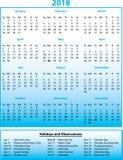 2018 mois civils et vacances annuels Images libres de droits