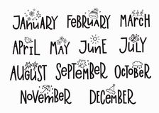 Mois d'année de calendrier de typographie de lettrage Images stock