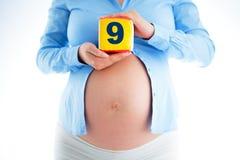 9 mois d'enceinte Fermez-vous d'un ventre enceinte mignon Photos libres de droits