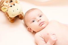 2 mois de bébé avec le jouet Photo libre de droits