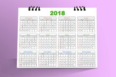 12 mois de conception de bureau 2018 de calendrier Photos stock