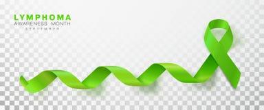 Mois de conscience de lymphome Ruban de couleur verte de chaux d'isolement sur le fond transparent Calibre de conception de vecte