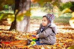 8 mois de garçon en automne Image libre de droits