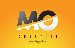 MOIS M O Letter Modern Logo Design avec le fond jaune et le Swoo illustration de vecteur