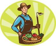 Moisson de collecte de panier de houe de jardin de fermier illustration stock