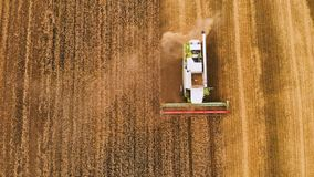 Moisson de vue aérienne du blé en été Moissonneuses fonctionnant dans le domaine Machine agricole de moissonneuse de cartel banque de vidéos