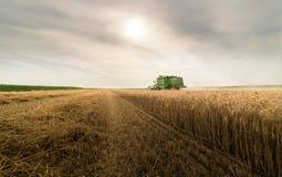 Moisson du champ de blé avec le cartel Images libres de droits