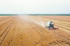 Moissonneuse de cartel travaillant à une zone de blé Moissonneuse de cartel EA images stock