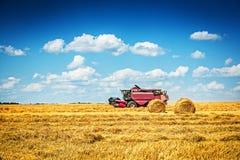 Moissonneuse de cartel travaillant au champ du blé photo stock