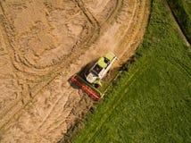 Moissonneuse de cartel - vue aérienne de moissonneuse de cartel moderne à moissonner le blé sur le champ de blé d'or pendant l'ét Photos libres de droits