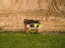 Moissonneuse de cartel - vue aérienne de moissonneuse de cartel moderne à moissonner le blé sur le champ de blé d'or pendant l'ét Image libre de droits