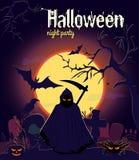Moissonneuse de Halloween sur le vieux cimetière, illustration de vecteur Photographie stock