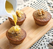 Moist date muffins with homemade toffee caramel Royalty Free Stock Photos