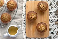 Moist date muffins with homemade toffee caramel Stock Photography