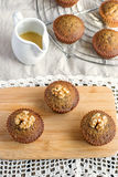Moist date muffins with homemade toffee caramel Royalty Free Stock Image