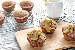Moist date muffins with homemade toffee caramel Stock Photo
