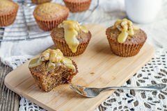 Moist date muffins with homemade toffee caramel Stock Photos