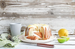 Moist lime and lemon bundt yoghurt cake, white Stock Images