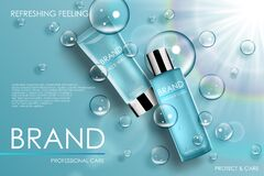 Free Moisture Cosmetic Tubes Banner Ads. Skin Care Cosmetic Product Bottles With Soap Bubbles. Lotion, Perfume Packing With Royalty Free Stock Photo - 184167265