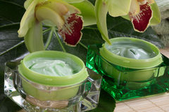 Moisturising Cream wuth Orchids. Closeup of two jars of cosmetics cream and blooming Cymbidium orchid flowers for everyday use Royalty Free Stock Photography