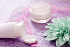 Moisturising creams/lotions for daily spa Royalty Free Stock Photos