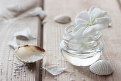 Moisturising lotions and flower. Moisturising lotions and white flower, spa treatments Stock Photo