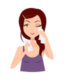 Moisturization. Girl Applying Wet Wipes. Vector Stock Image