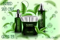 Moisturizing cosmetic ads template, 3D cosmetic product design with flying tea leaves. Cream, spray serum and pure. Essence realistic glass bottle isolated EPS vector illustration