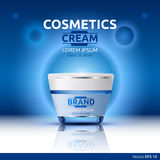 Moisturizing Cream cosmetic ads template. Hydrating face lotion. Mockup 3D Realistic illustration. Sparkling blue. Background color Royalty Free Stock Image