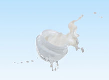 Moisturizing cream, moisturizing milk in the big milk splash Stock Images