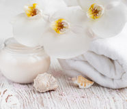 Moisturizing cream with  orchids and towel Stock Photos