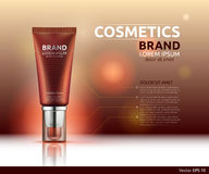 Moisturizing serum or gel cosmetic ads template. Hydrating face lotion or bronzer. Mockup 3D Realistic illustration Royalty Free Stock Photography